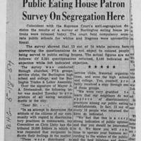 "1954-05-18 Burlington Hawkeye Gazette Article: ""Public Eating House Patron Survey On Segregation Here"""
