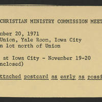 1971-11-20 'Iowa United Campus Christian Ministry Commission Meeting'