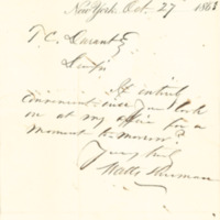 Duncan, Sherman & Co. correspondence to Thomas C. Durant, New York, New York, 1863