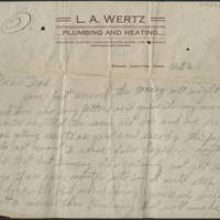 1918-10-06 Harvey Wertz to Mr. L.A. Wertz Page 1