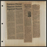 1971-01-29 Des Moines Register Article: 'Campus Clergy Oppose Action Against Hoenk'