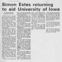 """""Simon Estes returning to aid University of Iowa"""""
