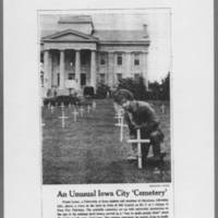 "1971-08-06 Des Moines Register Photo: """"An Unusual Iowa City 'Cemetery'"""""