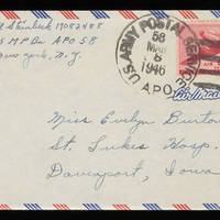 1946-03-07 Carroll Steinbeck to Evelyn Burton - Envelope
