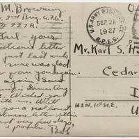 1927-09-21 Postcard: Robert M. Browning to Mr. Karl S. Hoffman - Back