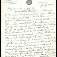 1918-07-15 Letter to Mrs. Whitley