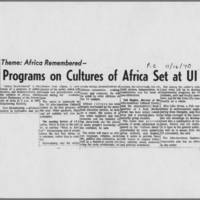 "1970-11-16 Iowa City Press-Citizen Article: ""Programs on Cultures of Africa Set at UI"""