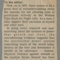 "To the Editor: ""Excluding Men"" Page 1"