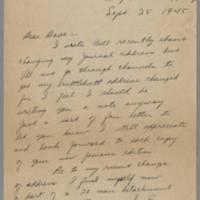 1945-09-25 Sgt. John T. Stewart to Dave Elder Page 1