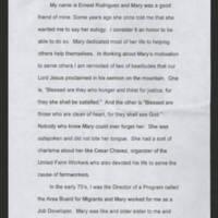 Ernest Rodriguez' Eulogy of Mary Terronez Page 1