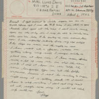 1943-04-01 Lloyd Davis to Laura Davis Page 1