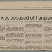 "1982-11-01 Daily Iowan Article: ""Editor was accused of harassment"""