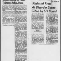 "1971-05-19 ICPC Articles: """"Council Waiting for 'Calm' To Discuss Police, Press"""" 1971-05-18 """"'Rights of Press' At Disorder Scene Cited by SPI Board"""""