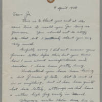 1938-04-09 Joseph Evans to Jo Page 1