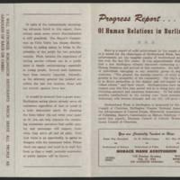 "1954-02-21 """"Progress Report Of The Human Relations of Burlington"""""