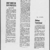 "1971-06-10 Des Moines Register Article: """"Quiet Move On U Of I Protests"""" ICPC Article: """"Driver Convicted"""""