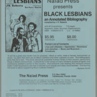 """Order form for """"""""Black Lesbians, an Annotated Bibliography"""""""""""