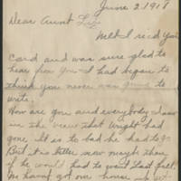 1918-06-02 Letter from Edna to Aunt Lib Page 1