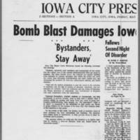 "1971-05-07 Iowa City Press-Citizen Article: """"Bomb Blast Damages Iowa City Civic Center"""" Page 1"