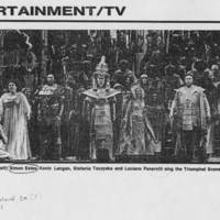 "1981-11-14 """"Margaret Price, (from left) Simon Estes, Kevin Langan, Stefania Toczyska and Luciano Pavarotti sing the Triumphal Scene"""""