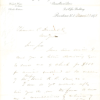 Wingate Hayes letters to Thomas C. Durant, Providence, Rhode Island, March 31, 1871