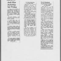 """1972-04-28 ICPC Article: """"""""Anti-War Activities Set Friday"""""""" 1972-04-21 DMR Article: """"""""U Of Iowa Protests"""""""" & 1972-04-19 Article: """"""""U of I Students To Protest"""""""""""
