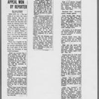 """1972-02-16 Des Moines Register Article: """"""""Appeal Won By Reporter"""""""" 1972-03-18 ICPC: """"""""Charges Against 8 Dropped"""""""""""