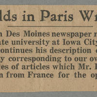 "1916-07-14 Des Moines Capital Clipping: """"Conger Reynolds in Paris Writes for Capital"""" Page 1"