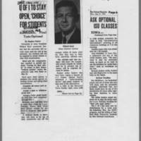 """1970-05-11 Des Moines Register Article: """"""""U of I To Stay Open, 'Choice' For Students"""""""" Page 1"""