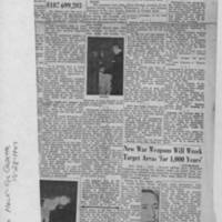 """1947-10-28 Burlington Hawk-eye Gazette: """"""""Atomic Perils, Benefits Told"""""""" Page 1"""