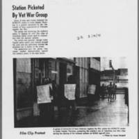 """1971-03-19 Daily Iowan Article: """"""""Station Picketed By Vet War Group"""""""""""
