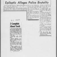 "1971-05-13 Daily Iowan Articles: """"Epileptic Alleges Police Brutality"""" """"3 Complain About Truck"""""