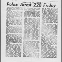 """1970-05-11 Daily Iowan Article: """"""""Police Arrest 228 Friday"""""""""""