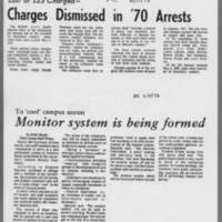 """1972-03-17 Iowa City Press-Citizen Article: """"""""Charges Dismissed in '70 Arrests"""""""" 1972-04-04 Daily Iowan: """"""""Monitor system is being formed"""""""""""