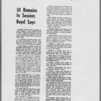 """1970-05-11 Daily Iowan Article: """"""""UI Remains In Session, Boyd Says"""""""""""
