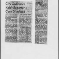 "1972-02-15 Iowa City Press-Citizen Article: """"City Ordinance Void; Reporter's Case Dismissed"