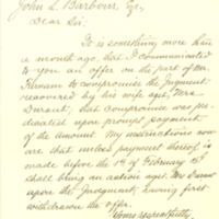 Alice Farnam vs. Heloise H. Durant legal correspondence about case plus land deeds, 1875-1890