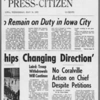 "1972-05-10 Iowa City Press-Citizen Article: """"Highway Patrolmen To Remain on Duty in Iowa City"""" Page 3"
