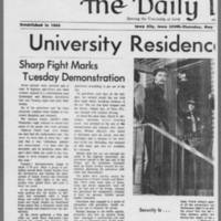 "1971-05-13 Daily Iowa Article: """"University Residence Halls Quiet"""" Page 1"