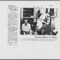 """1970-12-10 Des Moines Register Article: """"""""Protesters Block U of I Job Office"""""""" Page 1"""