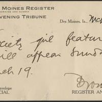 1916-03-14 Des Moines Register to Conger Reynolds Postcard