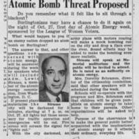 "1947-09-30 Burlington Hawk-eye Gazette Article: """"Brief Blackout Here to Stress Atomic Bomb Threat Proposed"""""