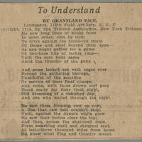"New York Tribune Clipping: """"To Understand"""" by Grantland Rice Page 1"