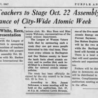 "1947-10-17 Burlington High School Newspaper Purple and Gray Article: """" BHS Teachers to Stage Oct. 122 Assembly in Observance of City-Wide Atomic Week"