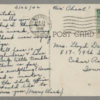 1942-02-26 Mary Clark to Laura Hutchison Davis - Back