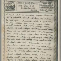1943-08-15 Lloyd Davis to Laura Davis Page 1