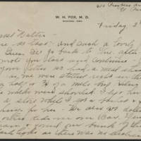 Correspondence to Walter H. Fox from Bess Peebles Fox, December 1918-March 1919