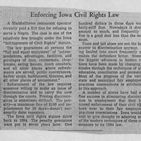 """1955-12-11 Des Moines Register Article: """"Enforcing Iowa Civil Rights Law"""""""