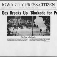 "1972-05-12 Iowa City Press-Citizen Article: """"Tear Gas Breaks Up 'Blockade for Peace'"""" Page 1"