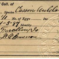 Thomas Wilmer Dewing, egg card # 017